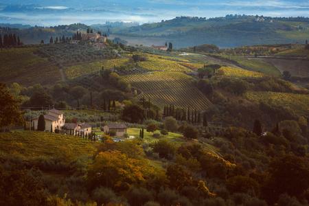 agriturismo: Beautiful hazy hills in Tuscany . Italian landscape Stock Photo