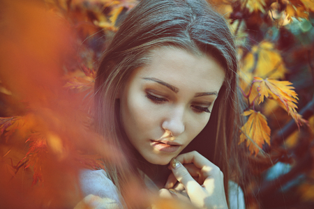 Beautiful woman portrait with sad colors . Innocence and purity Stock Photo