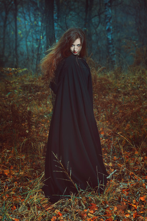 robes: Dark portrait of the forest keeper. Fantasy and gothic