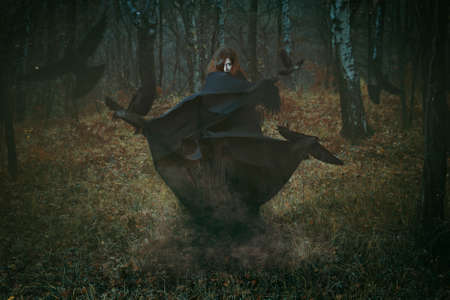 fantasy girl: Witch of the forest with her crows . Dark fantasy and magic Stock Photo