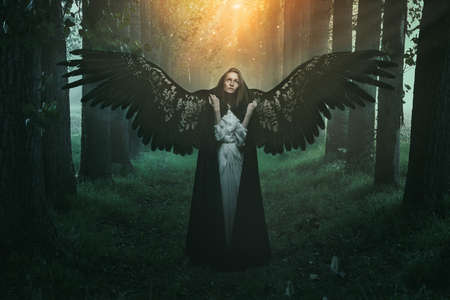 fallen: Fallen angel with sad expression and eyes to the sky