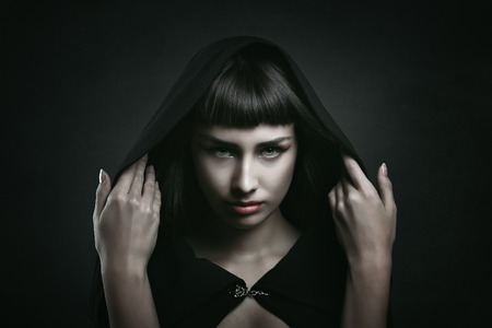 sad lady: Female vampire with beautiful eyes . Dark fantasy and halloween