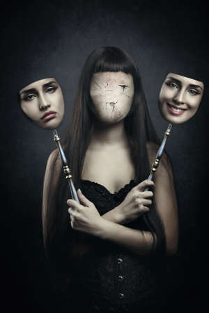 split: Dark faceless woman deciding which mask to wear. Surreal and horror