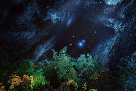 Dark magical cave with mountain spirits. Fantasy and surreal