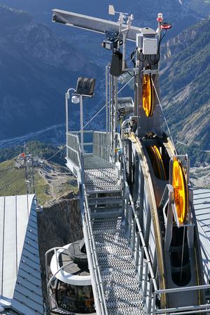 courmayeur: Detail of cable car gear . Courmayeur Valley Stock Photo
