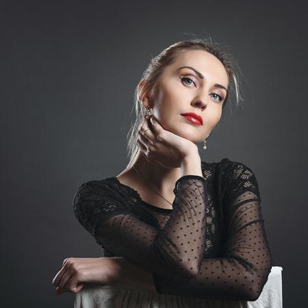 Beautiful fashion woman portrait. Intense gaze