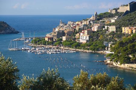 romance sky: Porto Venere in Liguria coast . Morning light Stock Photo