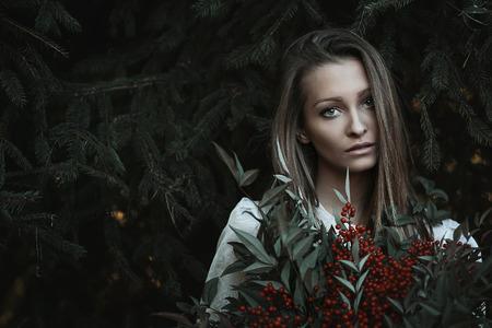 gaze: Beautiful girl with sad gaze . Winter portrait Stock Photo