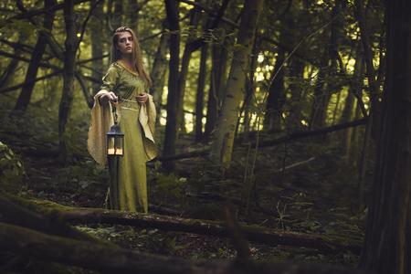 celtic mythology: Green lady of the woods. Fantasy and fairy