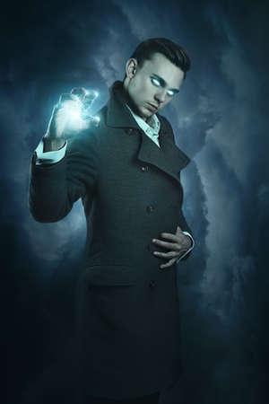 warlock: Modern warlock calling thunder powers . Dark fantasy