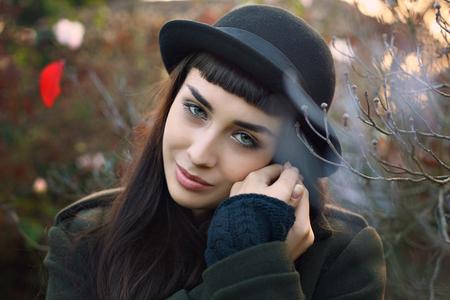 gaze: Beautiful gaze from autumn dressed woman. Seasonal portrait