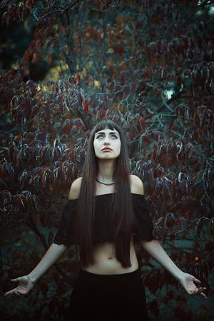 gitana: Bella bruja gitana mirando al cielo. Halloween y la fantasía