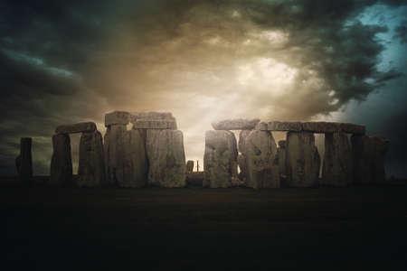 arthur: Dramatic cloudscape over Stonehenge .Fantasy manipulation