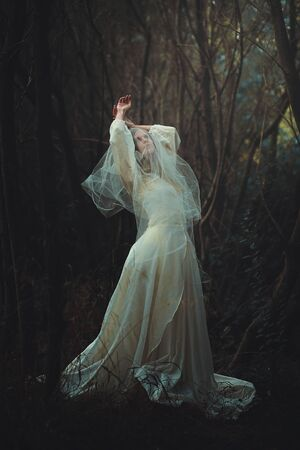 winter dance: Sad bride with veil in the forest. Dark and surreal
