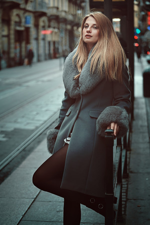 Stylish fashion woman portrait. Urban lifestyle