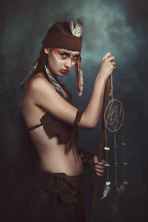 storm background: Native american shaman. Storm background
