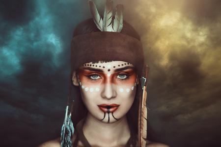 Storm shaman . Native american make up