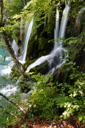 Waterfalls in Plitvice lakes. Croatian national park Standard-Bild