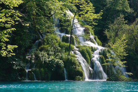 Beautiful waterfall in Plitvice. Croatia national park