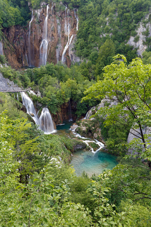 Panoramic view of Plitvice lakes. Croatia national park