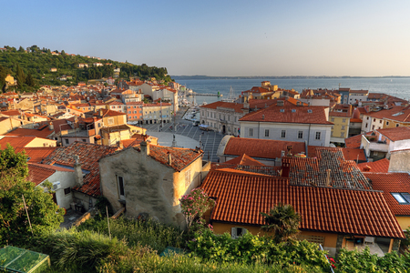 Piran sea town in sunset light. Hdr post processing Standard-Bild
