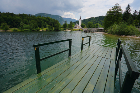 St.John church in Bohinj lake.Triglav national park in Slovenia