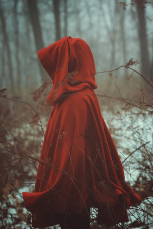 Red cloak in forest of fog