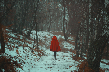 Red hooded woman walks alone in snowy forest