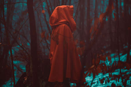 Red hooded figure in magical forest. Dark and surreal