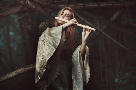 Princess of the elves playing flute . Romance and fantasy