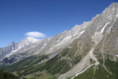 Panoramic view of Mont Blanc. Courmayeur