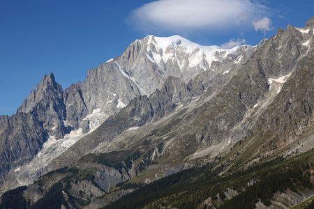 Detail of Mont Blanc massif. Italian side of Courmayeur Standard-Bild