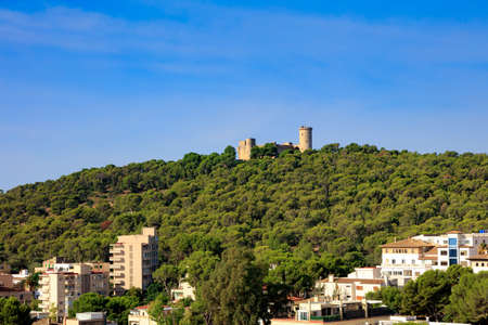 Castell de Bellver on the hill and blue sky, Mallorca, Spain