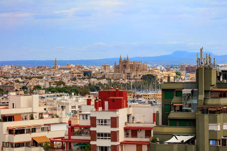 Downtown of Palma de Mallorca with Cathedral, view from Hotel Isla Mallorca, Spain 스톡 콘텐츠