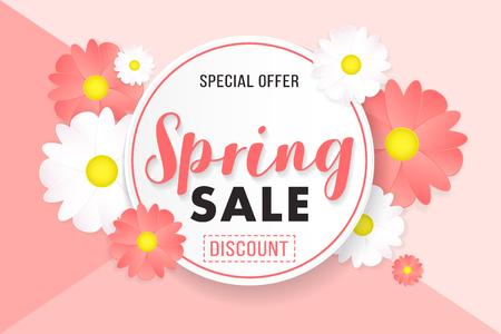 Promotion background poster banner spring sale with flower illustration.