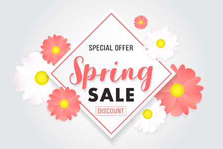 Promotion background floral poster banner spring sale.