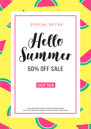 hello summer special offer sale watermelon poster