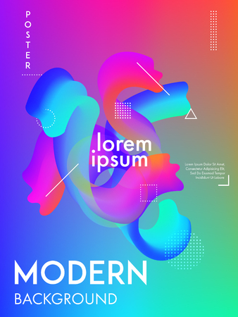 Minimal colorful gradient background cover. Modern poster design abstract fluid shapes composition.