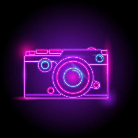 Camera neon logo. glow in the dark. electric theme season. party night club. vector eps10. Illustration