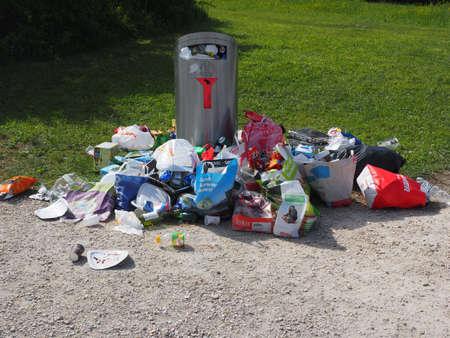 Garbage trash rubbish can dustbin on wheel