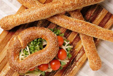 Fresh tasty baked bread in the breakfast meal