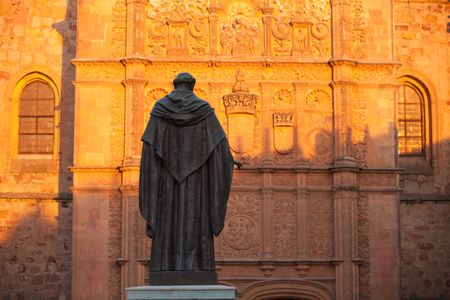 Statue and detail of Salamanca cathedral, Spain.