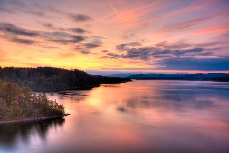 Autumn lakeside sunrise view