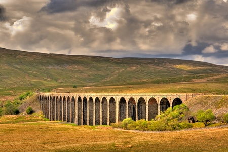 Famous Ribblehead viaduct in Yorkshire Dales in Great Britain