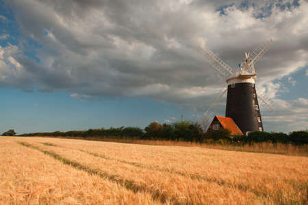 Old windmill in Wells - next the sea in Great Britain Stock Photo