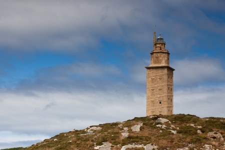 Lighthouse Hercules tower in La Coruna in Galicia in Spain