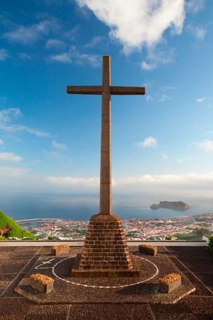 The view from the little church Ermida da Nossa Senhora da Paz near Vila Franca do Campo at Sao Miguel (Azores) Stock Photo