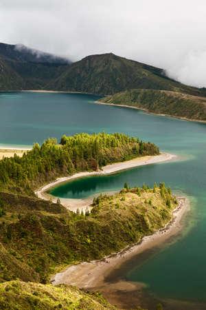 Caldera - lakes on the san Miguel Island , Azores, Portugal photo
