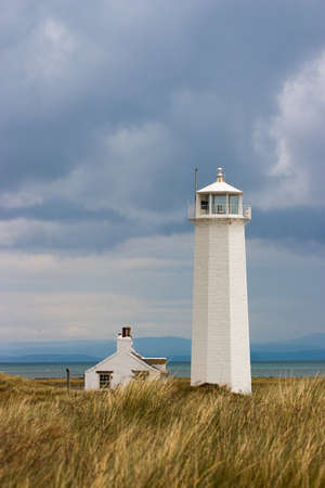 White Lighthouse in Nature Reserve on Walney Island Stock Photo - 8700282