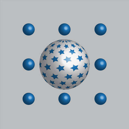 spares: The ornament with white sphere with blue stars